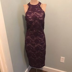 Purple lace pencil dress